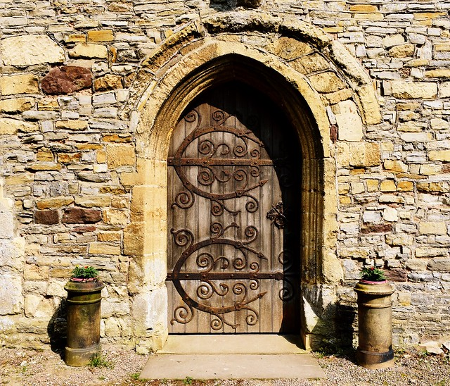 The door of St Mary's Priory Church in Deerhurst, Gloucestershire