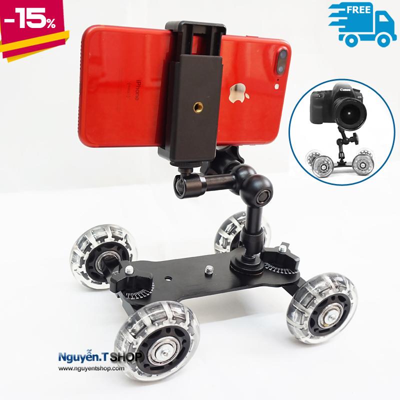 Combo quay phim Bánh xe dolly car và Magic Arm 7inch cho Điện thoại Máy Ảnh