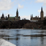The House of Parliament and the West Block buildings seen from Victoria Island in Ottawa, Ontario
