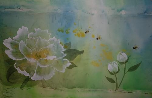 Peony on silk by Sharon Wybrow