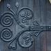 Amazing hinge in wrought iron.