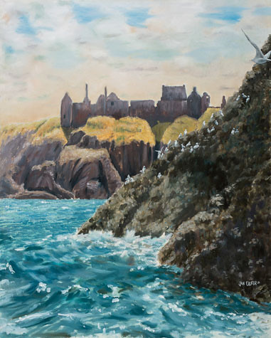 Dunnotar From the Sea. Artist Jan Clizer
