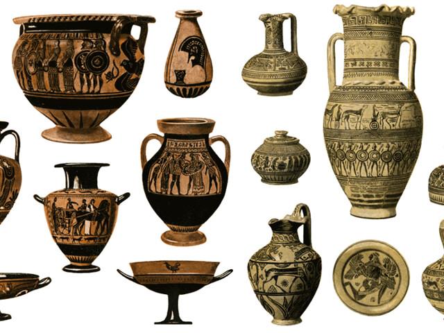 شكل (5)الاواني الفخارية المتعددة الاستعمالات والمزدانة بالزخارف والرسوم وهي من ميزات الحضارة اليونانية القديمة