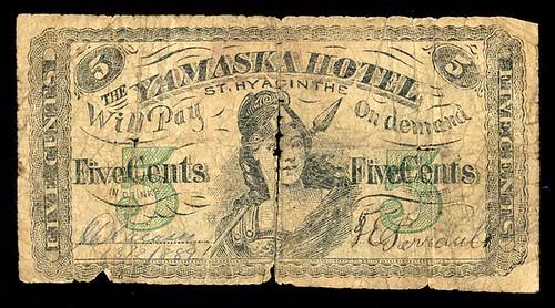 1889 Yamaska Hotel Scrip 5 cents