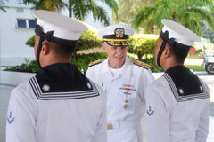Vice Adm. Phil Sawyer, commander of U.S. 7th Fleet, inspects sailors of the Royal Malaysian Navy during staff talks in Kota Kinabalu, May 23. (U.S. Navy/MC1 Chris Krucke)
