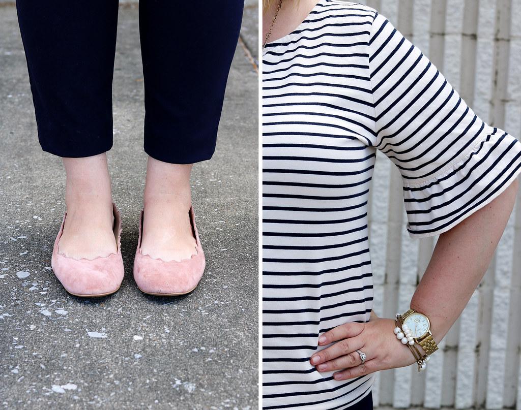 tripe ruffle sleeve top, navy pencil pants, blush scallop flats 1