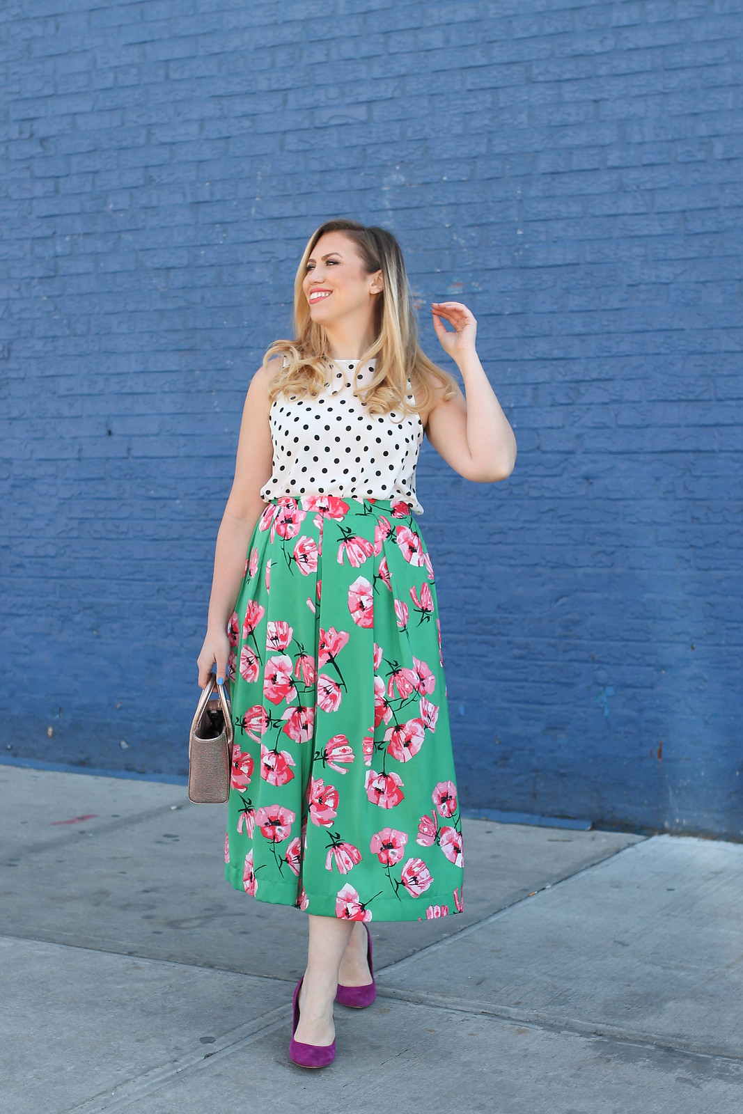 Colorful Spring Outfit Polka Dot Tank Green Pink Floral Midi Skirt Blue Brick Wall Jackie Giardina Living After Midnite Fashion Style Blogger