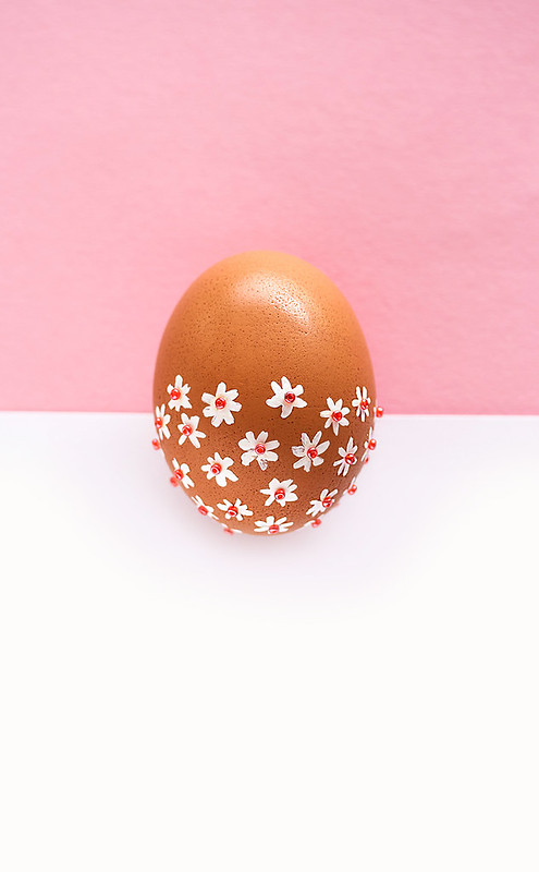 Pink with flowers easter egg