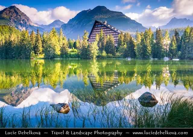 Slovakia - High Tatras Mountains - Divine light at Štrbské pleso - Mountain Glacial Lake at 1,346 m (4,416 ft) - Morning reflection