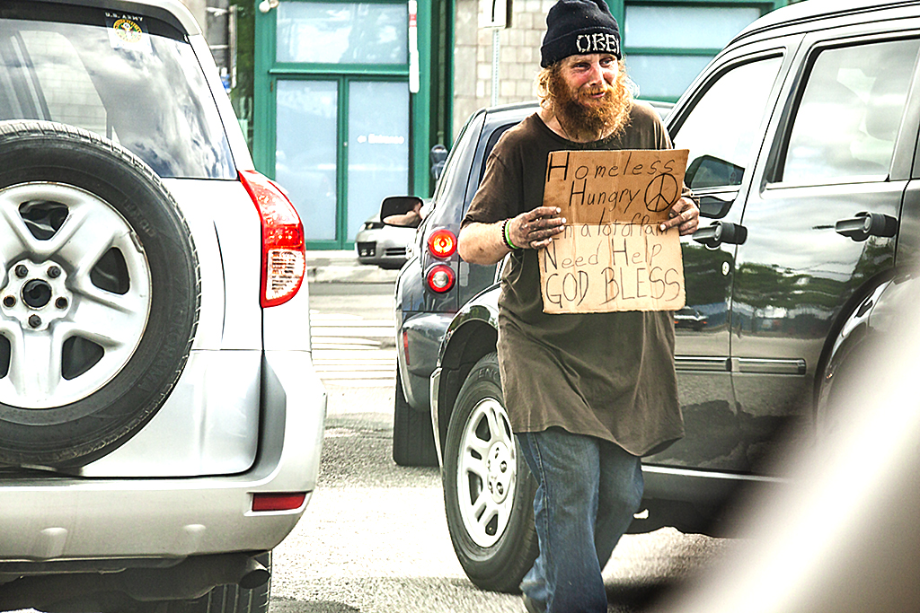 Young man begging on 5-30-18--Delaware Avenue