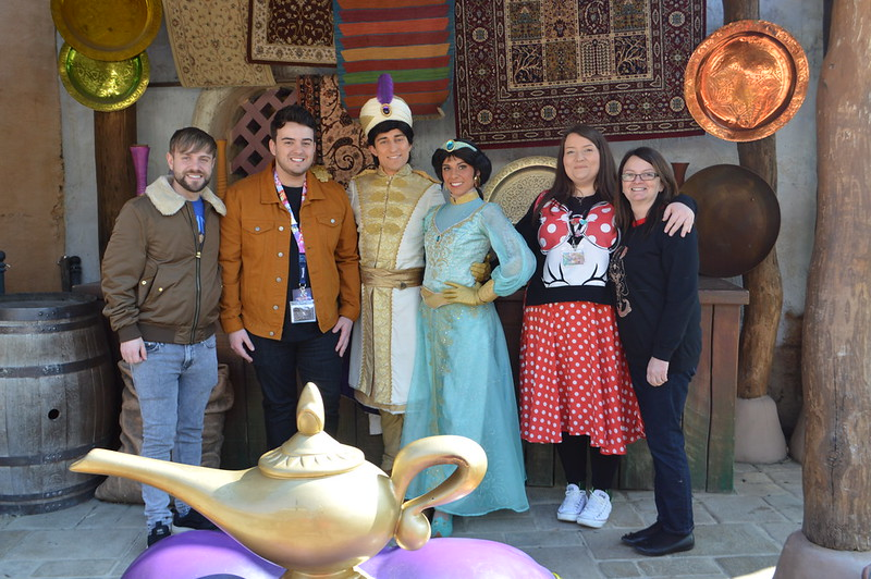 This is a picture of the Disneyland Paris Alladdin and Jasmine character meet