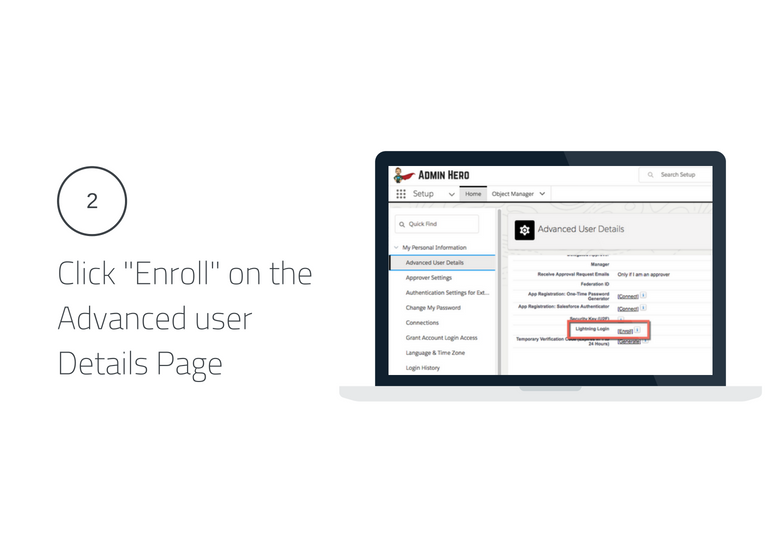 Click Enroll on the Advanced User Details Page Lightning Login