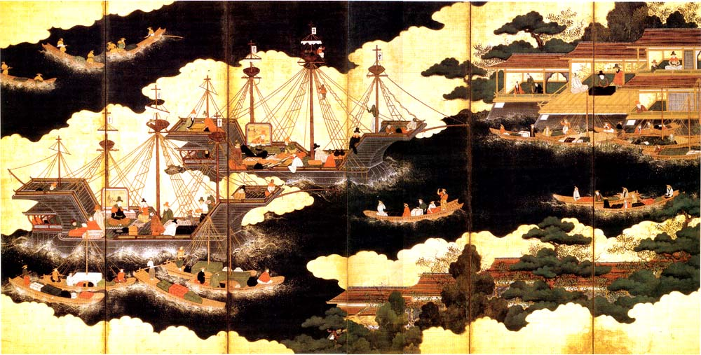 Nanban ships arriving for trade in Japan. 16th-century painting.