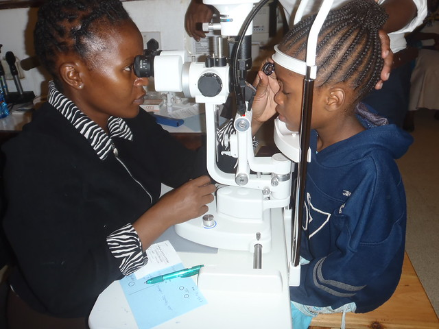 Amanda undergoing eye examination