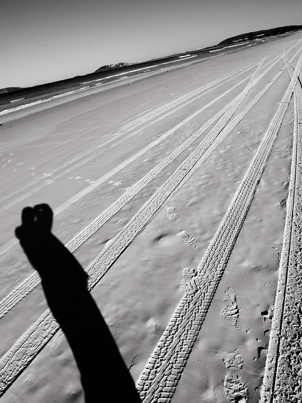 Selfie on white beach