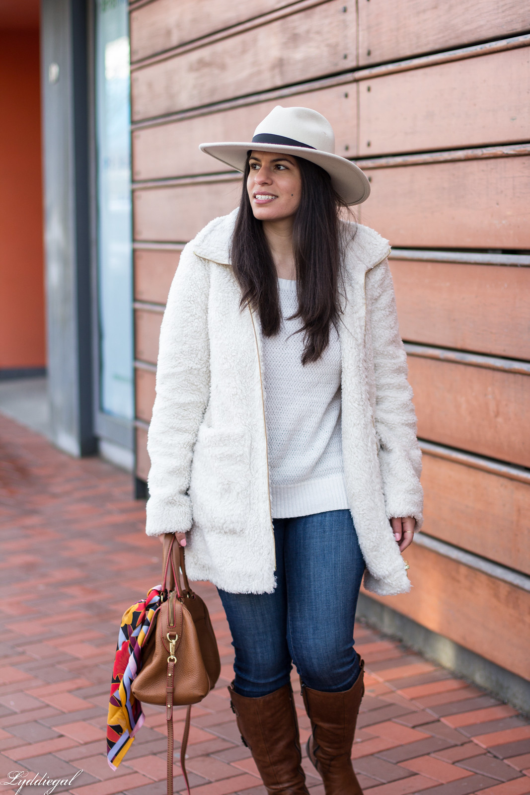 Teddy coat, white sweater, brown leather boots, wool fedora-14.jpg