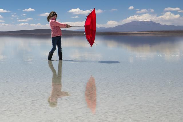 Uyuni Salt Flats Mirror Effect - Red Umbrella