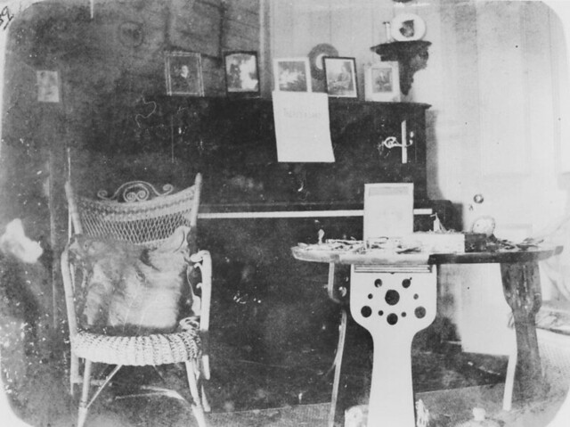 Interior view of the homestead on old Balnagowan Station showing a piano