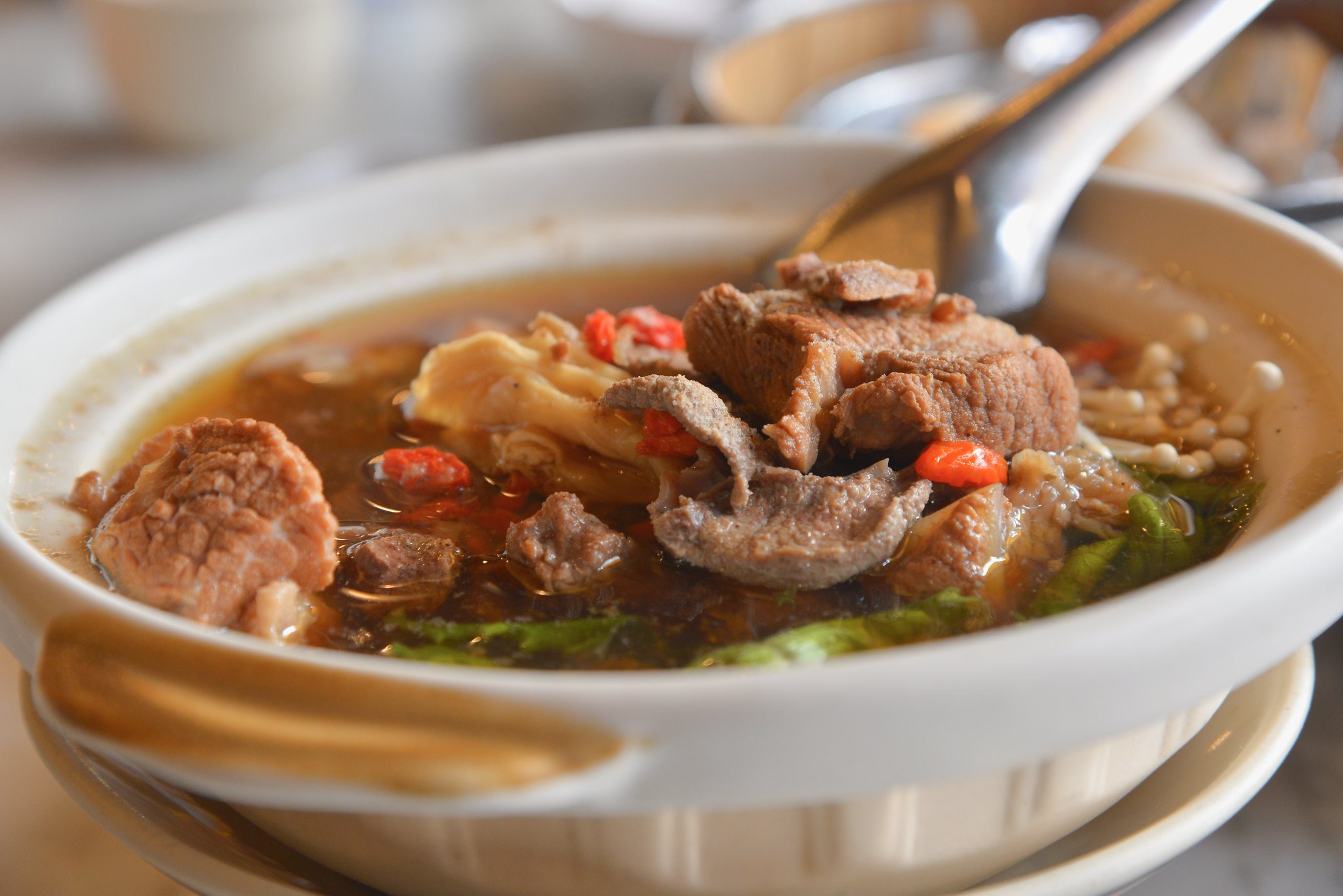 buk kut tae, chinese herbal soup (focus pork)