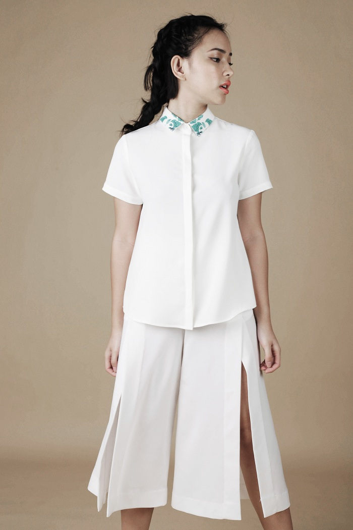 Culottes sawn bold yet elegant when combined with shirt, hit texture