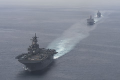 USS Essex (LHD 2), USS Rushmore (LSD 47) and USS Anchorage (LPD 23) conduct a strait transit exercise, March 31. (U.S. Navy/MC3 Molly DiServio)