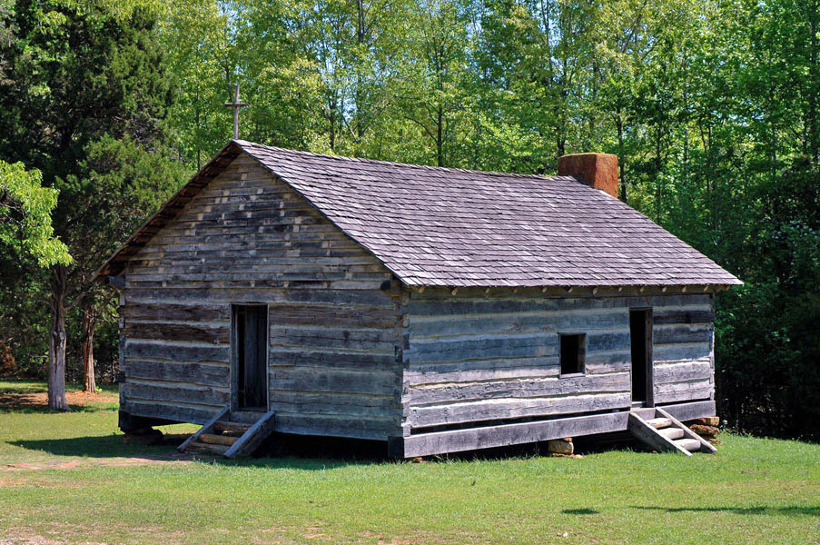 Shiloh Church at Shiloh National Military Park. The original church building did not survive the battle. The present-day structure is a reconstruction erected in 2003 on the historical site by the Tennessee Sons of Confederate Veterans organization. Photo taken on September 26, 2006.