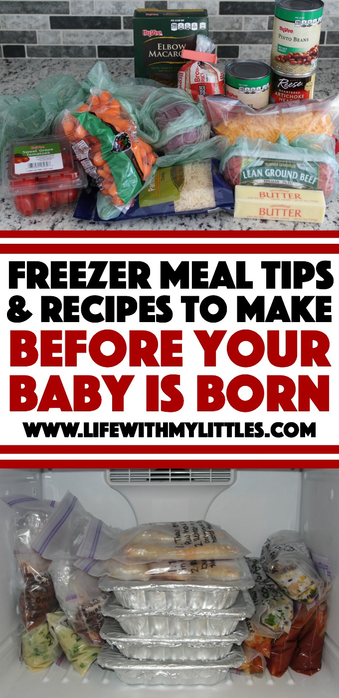 Freezer meal tips and recipes to make before your baby is born. A helpful post with lots of tips and freezer meal recipes. Read this before you start making freezer meals for postpartum!