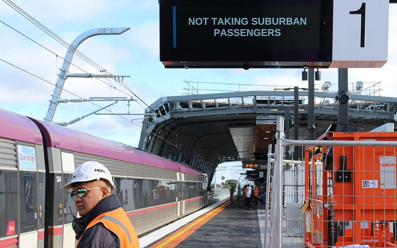 V/Line train inbound towards Southern Cross at Clayton