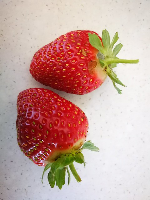 2 individual strawberries