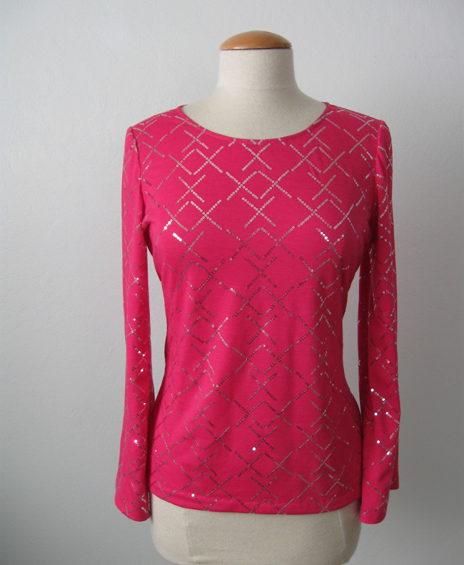 pink sequin top on form