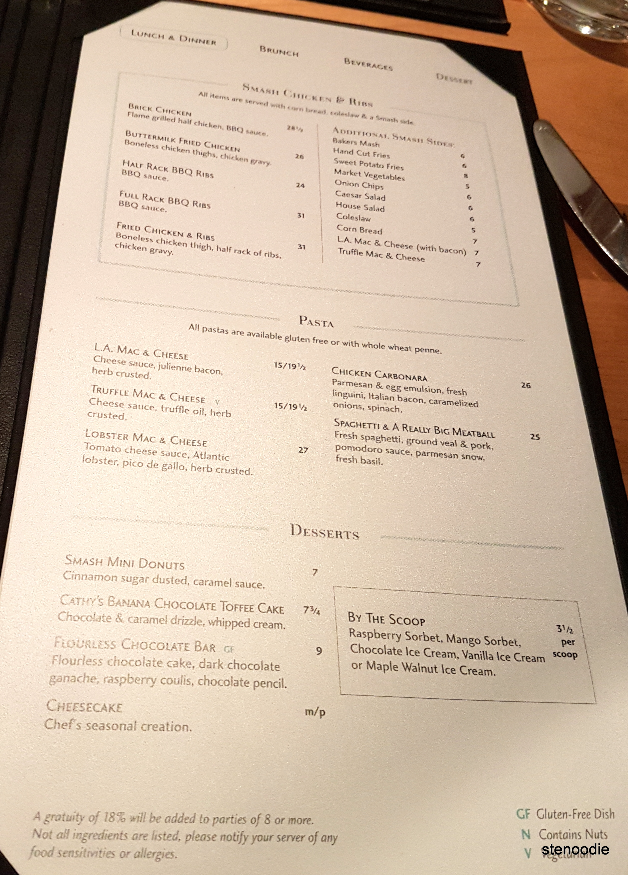 Smash Kitchen & Bar dinner menu and prices