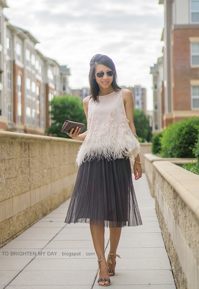 feathered fringe sleeveless top, dark gray tulle midi skirt, rose gold cuff, taupe clutch, suede jeweled sandals with ankle ties