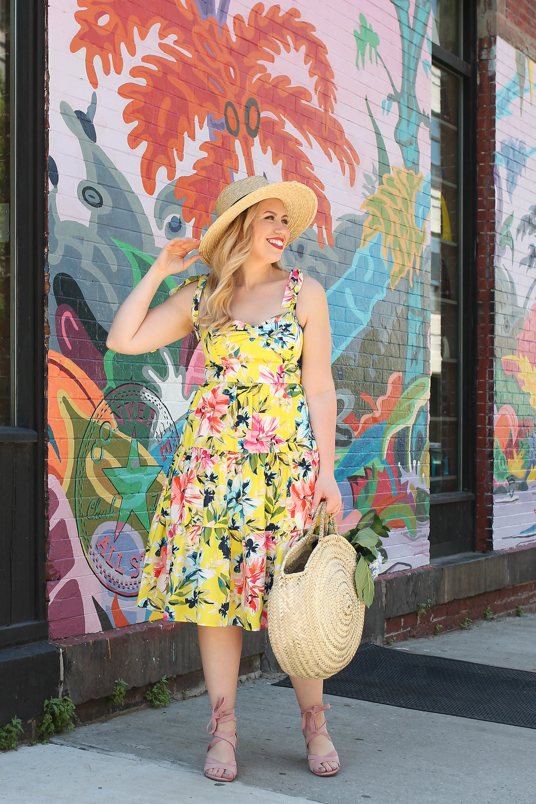 Palm Beach Chic Outfit Inspiration Eliza J Yellow Floral Dress Straw Hat Straw Bag Blush Pink Suede Sandals Fashion Summer Living After Midnite Jackie Giardina