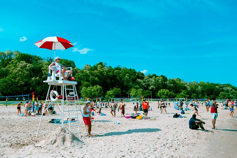 lifeguards at busy bradford beach