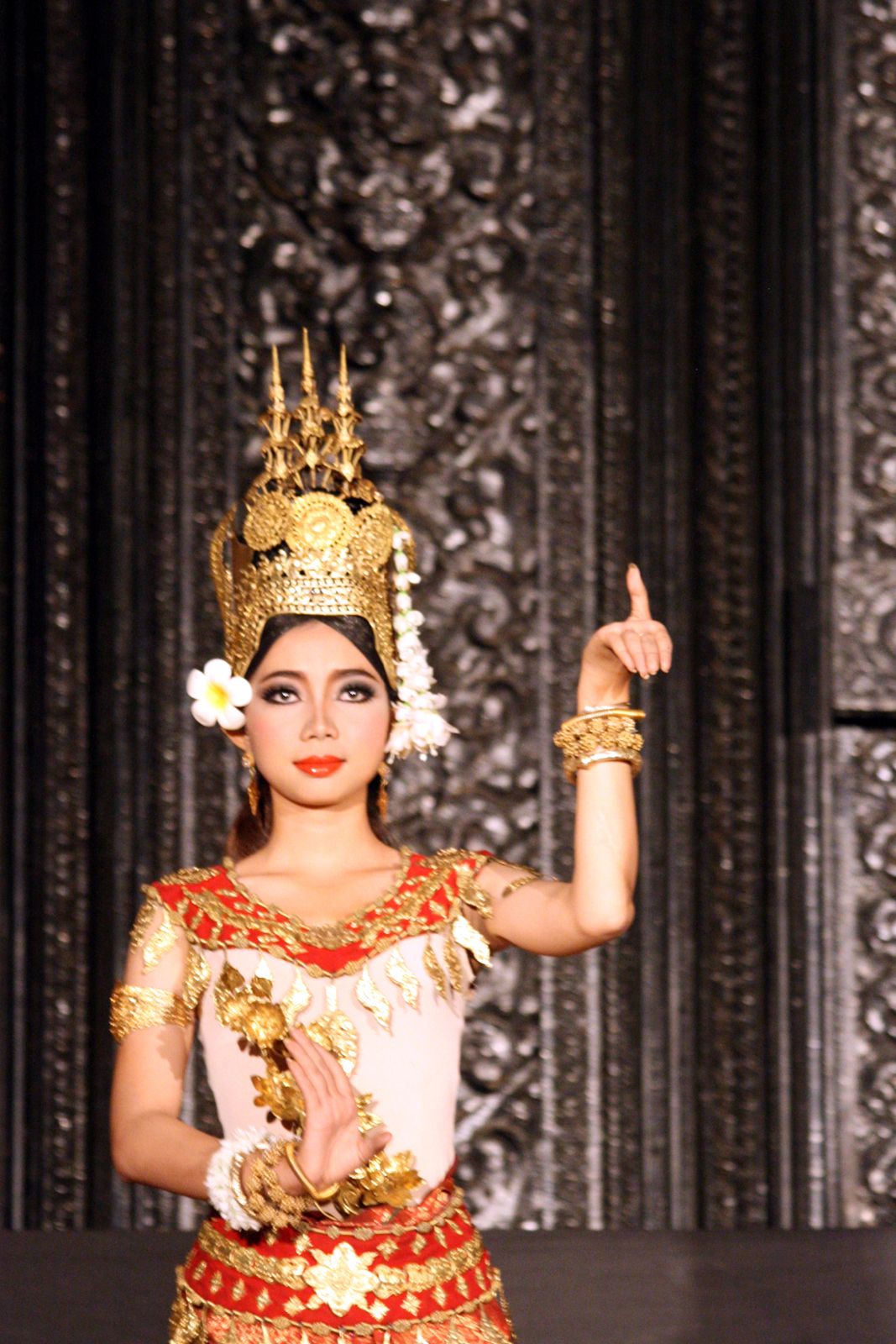 Apsara dancer in a pose. Photo taken by Remi Jouan at Bassac Theatre, Phnom Penh on January 5, 2012.