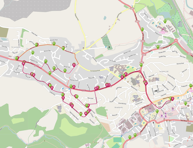 70 Newton Abbot - Highweek • Traveline Map 01 October 2014