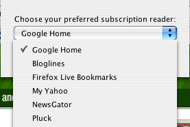 Google toolbar subscription preferences