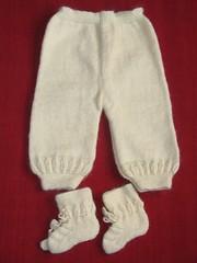 bombeli bebe pantolon ve patiği