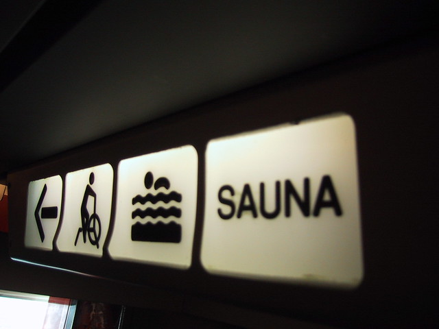 The sauna? This way.