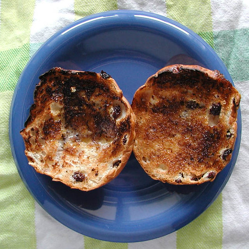 toasted teacakes on a tea towel
