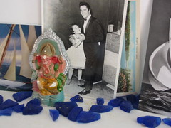 elvis, postcards and seaglass.
