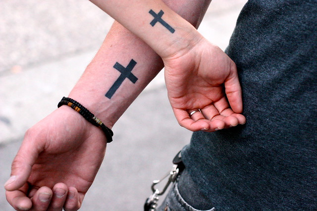 Jesus is so cool matching couples tattoos flickr for Cool matching tattoos