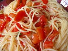 vegetable(0.0), tomato(0.0), linguine(0.0), produce(0.0), carbonara(0.0), spaghetti alla puttanesca(1.0), tomato sauce(1.0), bucatini(1.0), spaghetti(1.0), pasta(1.0), spaghetti aglio e olio(1.0), pasta pomodoro(1.0), naporitan(1.0), food(1.0), dish(1.0), european food(1.0), chinese noodles(1.0), capellini(1.0), vermicelli(1.0), cuisine(1.0),