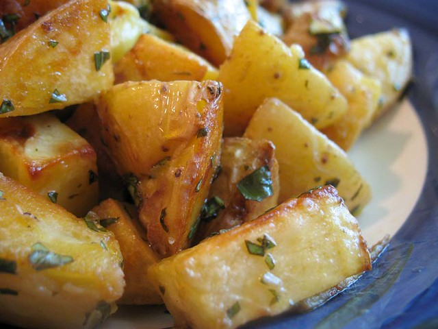 Roasted Potatoes with Basil Vinaigrette | Cube up some Yukon ...