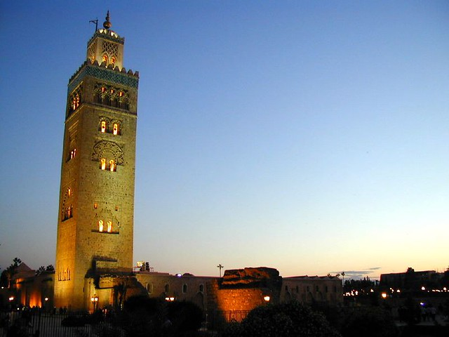 The Koutobia against the deep blue sunset sky of Morocco by flickr user Joao Maximo