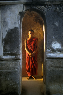 Monk in Sunlight, Bagan, Burma