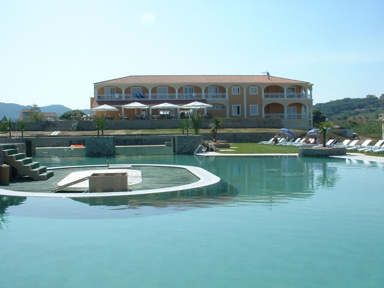 Rear of hotel and swimming pool