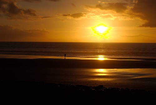 Sunset On Borth Beach