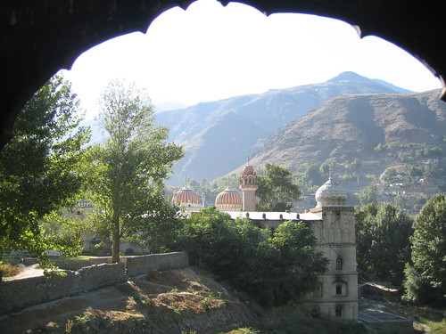Framed view of Shahi Masjid, taken from the Water Tower, Chitral Fort