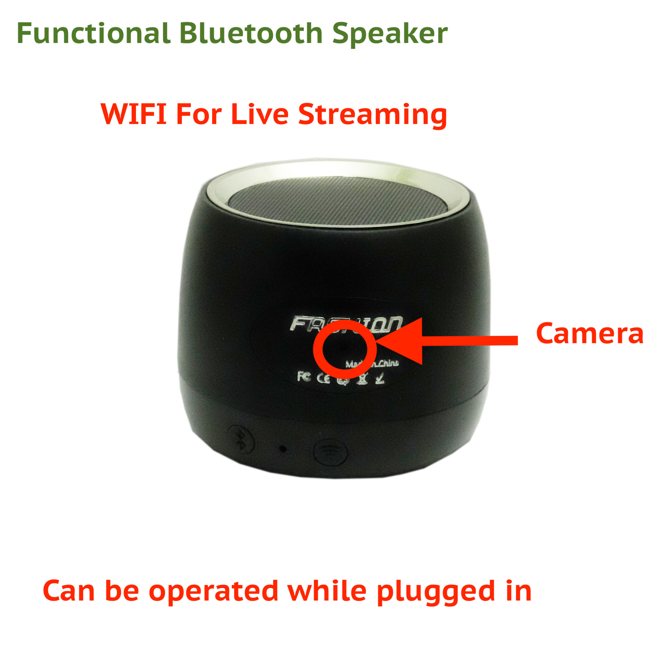 1080p WIFI Wireless HD Bluetooth Speaker Security Hidden Spy Nanny Camera 819209017036